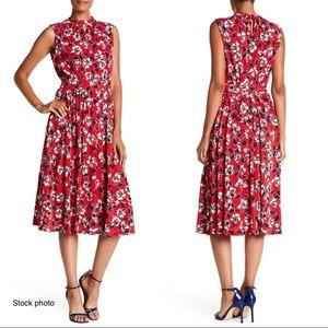 "LEOTA ""Mindy"" Floral Sleeveless Midi Dress, Small"